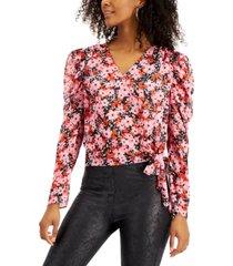 bar iii floral-print tie-hem top, created for macy's
