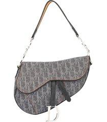 christian dior pre-owned trotter saddle handbag - grey