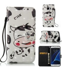 galaxy s7 phone case,xyx [3d painting - cow][wallet][card slot][wrist strap flip