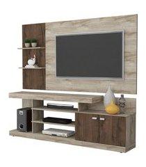 rack e painel p/ tv até 46 pol permóbili móveis viena rústico/café