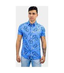 camisa victor deniro slim viscose azul beach