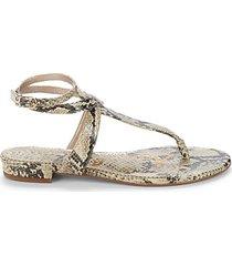 taiya embossed snake-print leather thong sandals