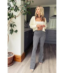 black and white gingham flare pants - monochrome