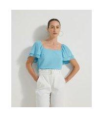 blusa manga curta com camadas em chiffon | cortelle | azul | g