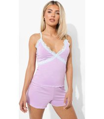 kanten pyjama set met hemdje en shorts, lilac