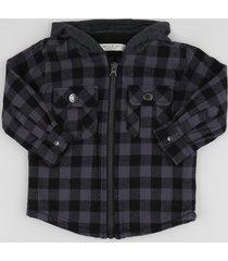jaqueta de flanela infantil estampada xadrez preta