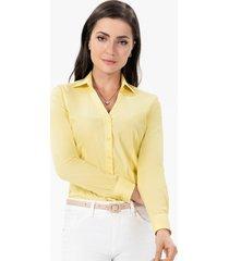 camisa social feminina amarela