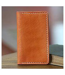 leather passport wallet, 'java journeys in ginger' (indonesia)