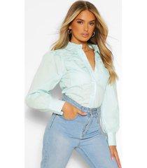 katoenen poplin blouse met uitgesneden schouders en zakken, aqua