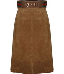 gucci web tape and clamp midi skirt