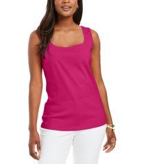 karen scott square-neck cotton tank top, created for macy's