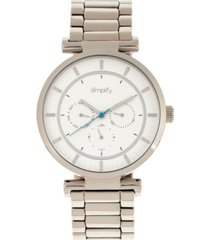 simplify quartz the 4800 silver case, white dial, alloy watch 44mm