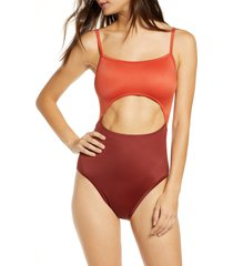 women's madewell second wave cutout one-piece swimsuit, size medium - orange