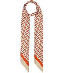 women's burberry logo & tb monogram print skinny silk scarf
