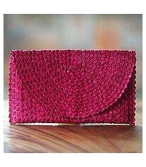 palm leaf clutch handbag, 'trance in magenta' (indonesia)