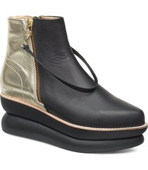503g black leather gold shoes boots ankle boots ankle boots flat heel multi/mönstrad gram