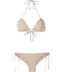 amir slama scalloped trim bikini set - neutrals