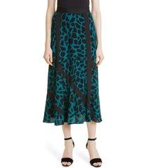 women's dvf madison maxi skirt, size 16 - blue