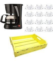 kit 1 cafeteira mondial 110v , 12 xícaras 90 ml com pires e 1 bandeja mdf amarelo - tricae