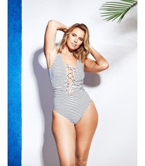 cast away lace up soft tummy control one-piece swimsuit