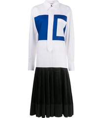 plan c panelled shirt shift dress - white