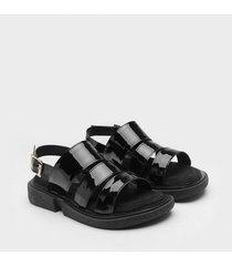 sandalia   negra paio ivy