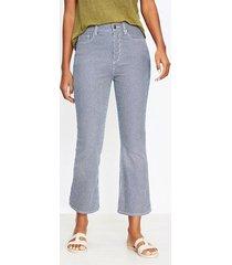 loft curvy high rise kick crop jeans in indigo stripe