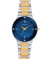 bulova women's futuro diamond-accent two-tone stainless steel bracelet watch 32mm