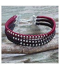 silver beaded wristband bracelet, 'tricolor moons' (thailand)