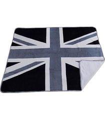 luxus weich sherpa grau schwarz union jack flagge fleece überwurf decke