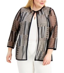 kasper plus size embroidered mesh cardigan