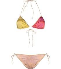 oséree blossom colour-block bikini set - pink