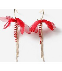 *flower and rhinestone hoop earrings - red