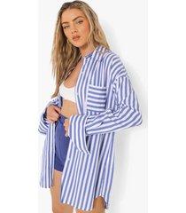 oversized gestreepte blouse met contrasterende zakken, navy