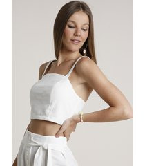 top cropped feminino alça média decote reto off white