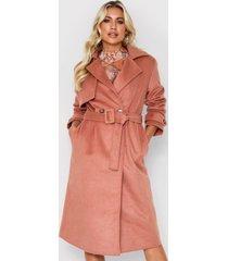 brushed wool look belted coat, camel