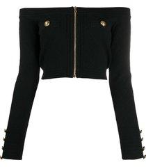 balmain zip-up cropped knit top - black