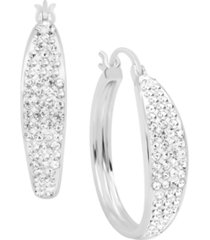 clear crystal pave tapered hoop earring in fine silver plate