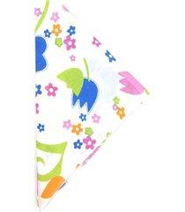 lenço bijoulux branco quadrado com flores coloridas