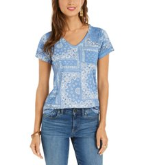 style & co bandana-print burnout v-neck top, created for macy's