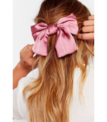 womens bow your own way satin hair clip - pink