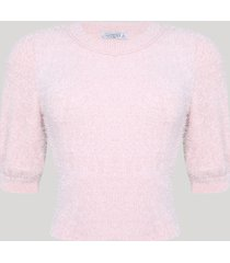 blusa cropped feminina com pelos felpudo e manga bufante rosa claro