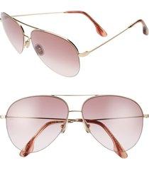 women's victoria beckham 62mm gradient aviator sunglasses - gold/ burgundy