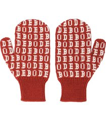 bode knitted logo mittens - red