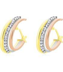 orecchini a cerchio in oro tricolore e strass per donna