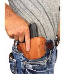 tan leather belt slide gun holster for ruger lc9 (9mm)