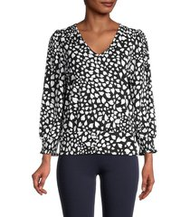 karl lagerfeld paris women's heart-print blouse - black white - size xs