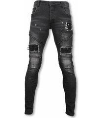 exclusieve biker jeans - slim fit zipped biker jeans with paint drops - antra