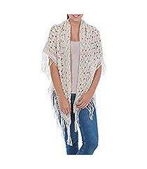 100% alpaca shawl, 'andean starlight' (peru)