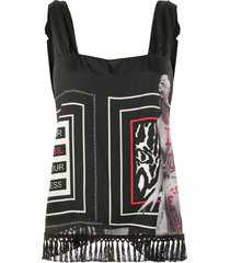 pinko graphic print tassel blouse - black